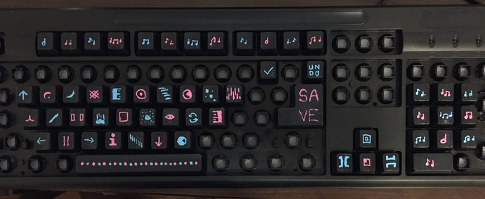 GREAT ARTIST keyboard: every key has some kind of weird symbol on it to indicate a different image manipulation action
