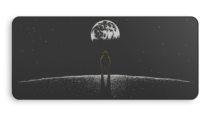 GMK Lunar Deskmat 01 - final mockup 01 - yellow astronaut - transparent compressed 2000px