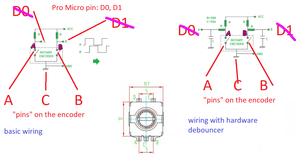 encoder 7 pole wiring diagram how to wire a rotary encoder fit in a matrix  makerspace keebtalk  wire a rotary encoder fit in a matrix